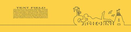 Young woman sunbathing on a beach. Silhouette of the relaxing girl on a California text. Palm and lifeguard tower on backdrop. Birds in the sky. Horizontal thin line style web banner