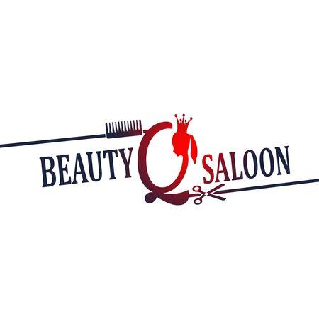 Vintage queen silhouette. Medieval queen profile. Elegant outline silhouette of a female head. Hair saloon emblem design. Royal emblem with Q letter 向量圖像