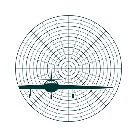 Airplane silhouette on radar screen. Concept of aviation technology Ilustração