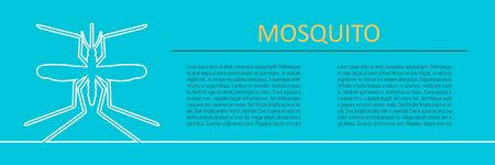 Mosquito and virus. Illustration of many disease transmission by mosquitoes. Horizontal thin line style web banner. 일러스트