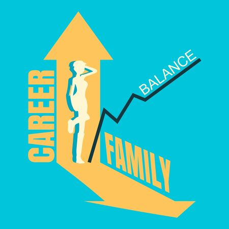 Concept of career and family balance. Vector illustration. Hard choose between housekeeping and professional growth. Woman silhouette and arrows. Çizim
