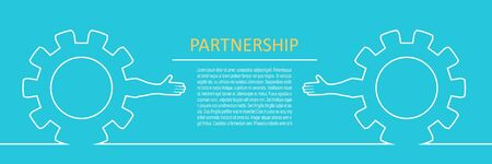Politic and economic relationship concept. Cog wheels with human arms. Horizontal thin line style web banner.