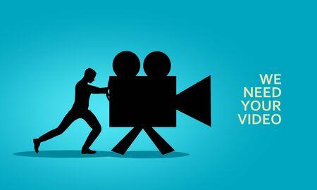 Businessman pushing retro camera. Movie production concept