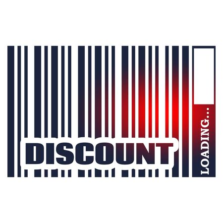 Discount text in bar code. Loading bar. Relative for retail business