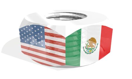 Business communication concept in industrial design. USA and Mexico business cooperation. National flags on silver metal nut. 3D rendering
