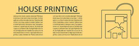 Prototype model of 3d printer. New 3d house printing technology. Horizontal thin line style web banner. Stock Illustratie
