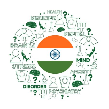 Mental health creative concept. Circle frame with medicine thin line icons and tags. Flag of the India