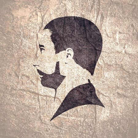 Profile view of bearded man. Male face silhouette or icon. Asian face of the young Chinese, Thai, Japanese and Korean guy Stock Photo