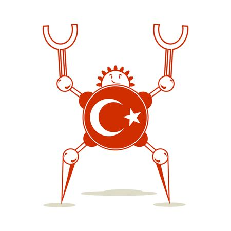Cute vintage robot. Robotics industry relative image. Cartoon person. Flag of the Turkey