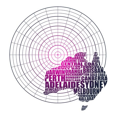 Map of Australia made from cities list on radar screen