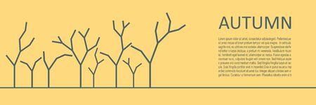 Assorted outlined tree icons. Autumn season. Horizontal thin line style web banner. Ilustração