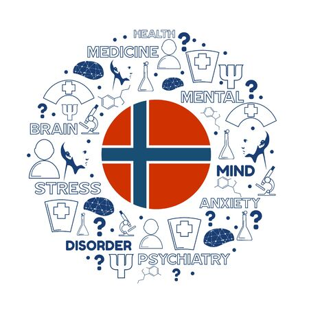 Mental health creative concept. Circle frame with medicine thin line icons and tags. Flag of the Norway