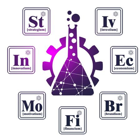 Business model metaphor. Fictional chemical elements around gear. Business chemistry