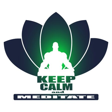 Muscular man sit in meditation pose. Bodybuilder relaxing. Cutout silhouette. Lotus flower yoga center emblem. Keep calm and meditate text