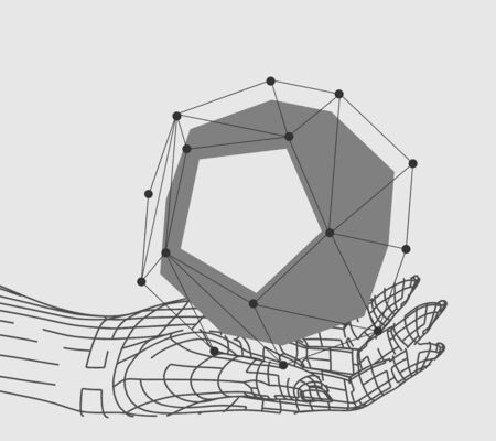 Polygonal hands and solid shape. Wire frame style. 3d human parts. Connected lines with dots.