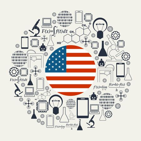 Innovation and technology concept. Circle frame with thin line icons. Flag of the USA