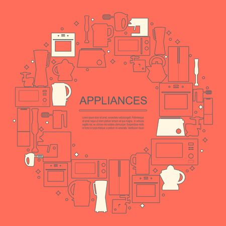 Circle frame with thin line appliances icons. Vector set of domestic electric machines