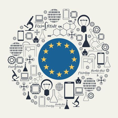 Innovation and technology concept. Circle frame with thin line icons. Flag of the European Union