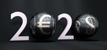 New Year greeting card template. 2020 year number. Brochure or report design template. 3D rendering. Spheres with dollar and euro symbols