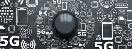 Mobile gadgets technology relative image. Circle frame with technology thin line icons. 5G Network Symbol. 3D rendering