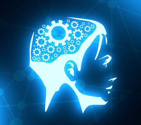Silhouette of a woman head. Mental health relative brochure design template. Gears icons in head as symbol of brainstorm or thinking. Neon bulb illumination. 3D rendering