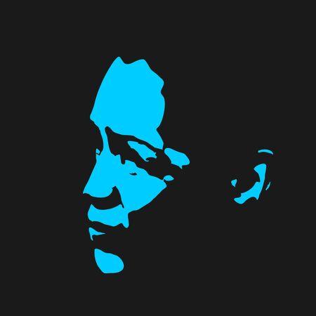 Face front view. Elegant silhouette of a female head. Portrait of a woman Banco de Imagens