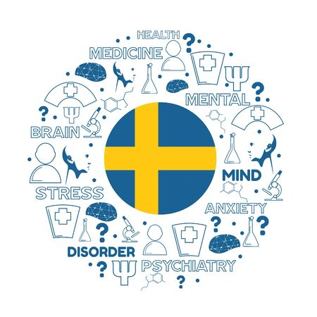 Mental health creative concept. Circle frame with medicine thin line icons and tags. Flag of the Sweden