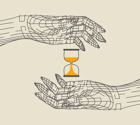 Polygonal hands and hourglass. Wire frame style. 3d human parts