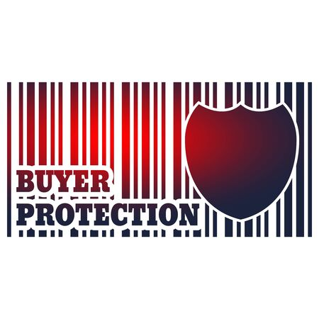 Buyer protection. Internet payments security. Bar code and shield. Stockfoto