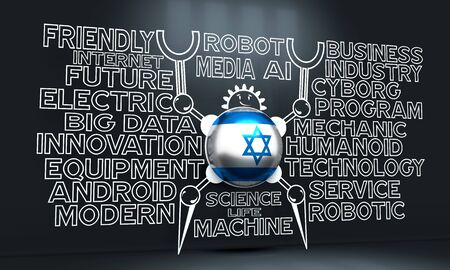 Cute vintage robot. Robotics industry relative words cloud. Cartoon person. Flag of the Israel. 3D rendering