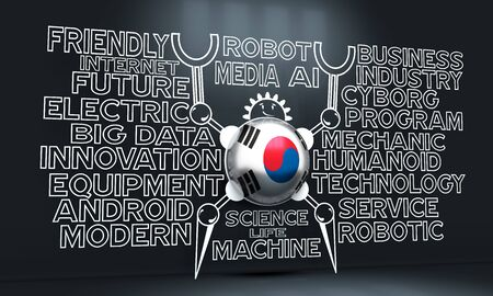 Cute vintage robot. Robotics industry relative words cloud. Cartoon person. Flag of the South Korea. 3D rendering