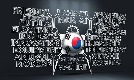Cute vintage robot. Robotics industry relative words cloud. Cartoon person. Flag of the South Korea. 3D rendering Banco de Imagens - 130054567
