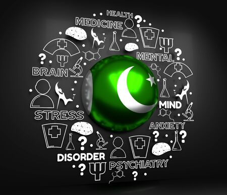 Mental health creative concept. Circle frame with medicine thin line icons and tags. Flag of the Pakistan. 3D rendering. Imagens
