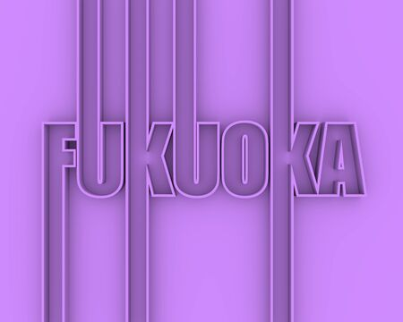 Image relative to Japan travel theme. Fukuoka city name in geometry style design. Creative vintage typography poster concept. Outline letters. 3D rendering