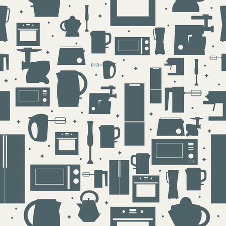 Appliances icons seamless background. Vector set of domestic electric machines