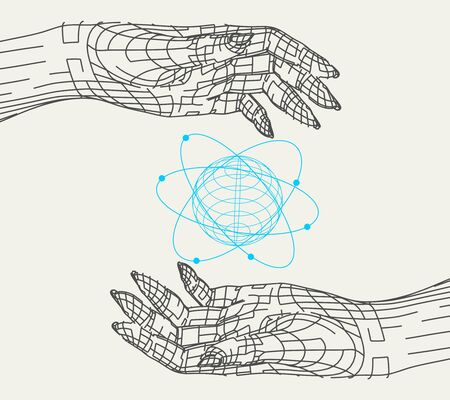 Polygonal hands and atom model. Wire frame style. 3d human parts.