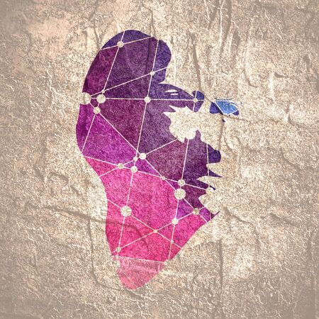 Face front view. Elegant silhouette of a female head. Portrait of a happy smiled woman. Molecule and communication background. Connected lines with dots.