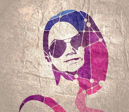 Portrait of beautiful woman in black sunglasses. Molecule and communication background. Connected lines with dots.