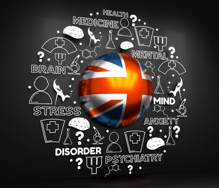 Mental health creative concept. Circle frame with medicine thin line icons and tags. Flag of the United Kingdom. 3D rendering.