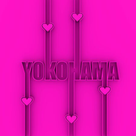 Image relative to Japan travel theme. Yokohama city name in geometry style design. Creative vintage typography poster concept. Outline letters with hearts icons. 3D rendering