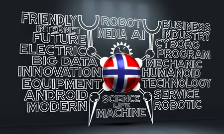 Cute vintage robot. Robotics industry relative words cloud. Cartoon person. Flag of the Norway. 3D rendering
