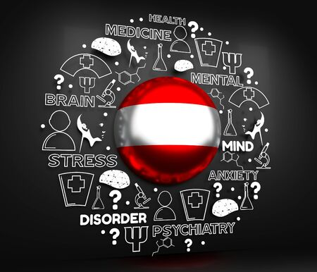 Mental health creative concept. Circle frame with medicine thin line icons and tags. Flag of the Austria. 3D rendering. Banque d'images - 129467610