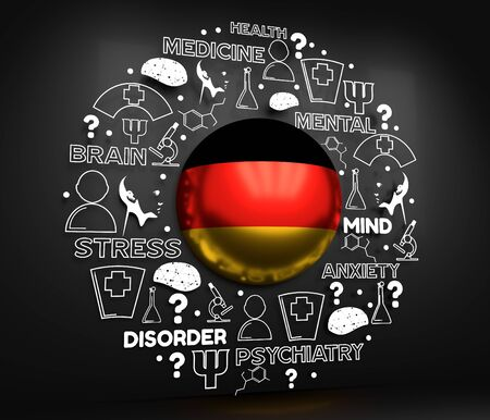 Mental health creative concept. Circle frame with medicine thin line icons and tags. Flag of the Germany. 3D rendering. Banque d'images - 129467598