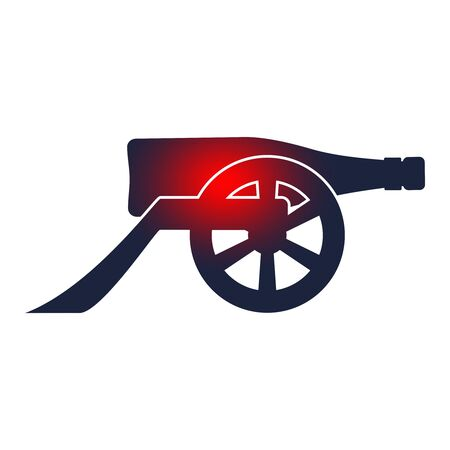 Ancient wine bottle cannon silhouette. Vector illustration.  イラスト・ベクター素材