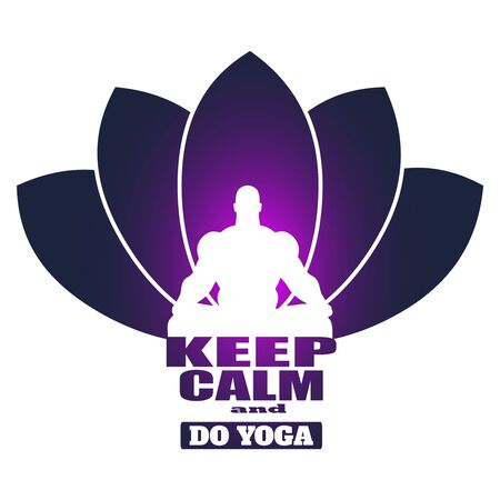 Muscular man sit in meditation pose. Bodybuilder relaxing. Cutout silhouette. Lotus flower yoga center emblem. Keep calm and do yoga text