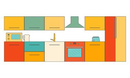 Abstract kitchen modern interior. Vector flat illustration 写真素材 - 129481965