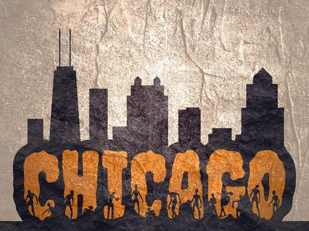 Chicago city name and zombie silhouettes on them. Halloween theme sticker. Building silhouettes Reklamní fotografie
