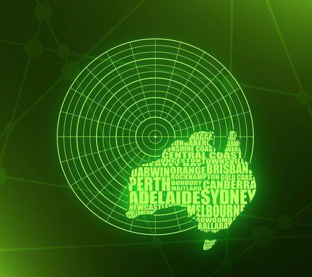 Map of Australia made from cities list on radar screen. 3D rendering. Neon bulb illumination
