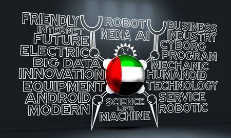 Cute vintage robot. Robotics industry relative words cloud. Cartoon person. Flag of the United Arab Emirates. 3D rendering 版權商用圖片