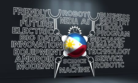 Cute vintage robot. Robotics industry relative words cloud. Cartoon person. Flag of the Philippines. 3D rendering